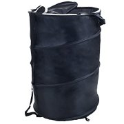 Lavish Home Pop Up Laundry Hamper-Collapsible Nylon Bag with Carrying Straps and Zipper for Dorm, Apartment (Black)