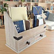 25DOL Mini-Hutch Large Wooden Desk Organizer with Drawers
