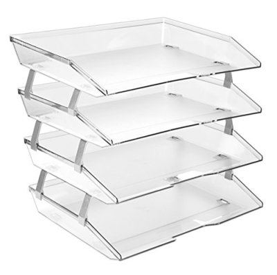 Acrimet Facility 4 Tier Letter Tray Side Load Plastic Desktop File Organizer