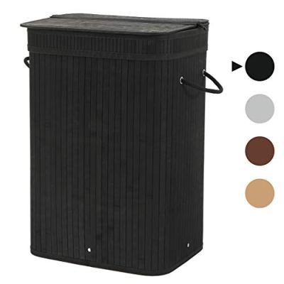 Sophia & William Laundry Hamper 72L Dirty Clothes Bamboo Storage Basket with Lid Liner and Handles Rectangular Black