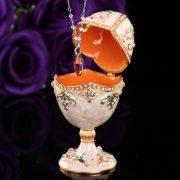 Handicraft faberge egg shape metal jewelry box