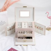 Large Capacity Jewelry Box Storage PU Leather Necklace