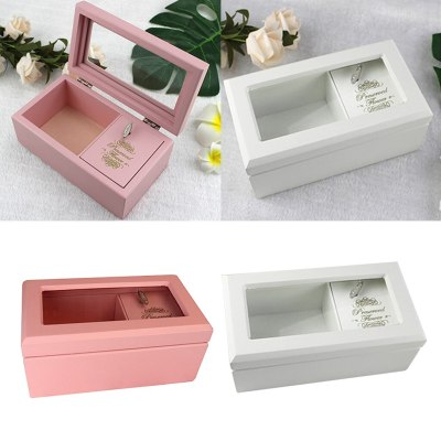 Wooden Musical Jewelry Box Display Case Jewely Organizer
