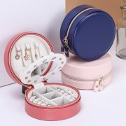 Portable Round Jewelry Box Travel Zipper PU Leather