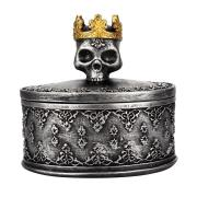 Crowned Skull Head Jewelry Storage Box Necklace