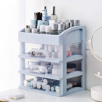 Plastic Makeup Organizer Two-Layers Jewelry Box Cosmetic