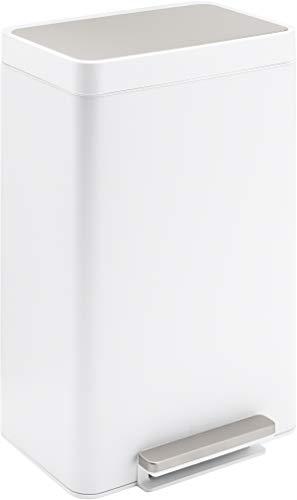 Kohler 13-Gallon Step Trash Can, White Stainless