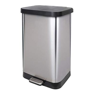 GLAD Extra Capacity Stainless Steel Step Trash Can