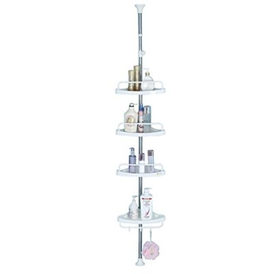 BAOYOUNI 4 Tier Bathroom Corner Shower Caddy Tension Pole