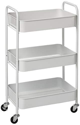 CAXXA 3-Tier Rolling Metal Storage Organizer - Mobile Utility Cart