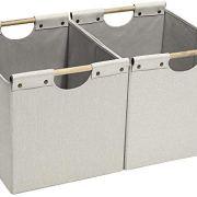 HOONEX Large Foldable Cube Storage Bins, Linen Fabric