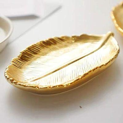 lemonadeus Small Golden Leaf Tray Ceramic Decorative