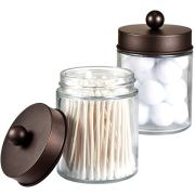 Apothecary Jars Bathroom Storage Organizer - Cute Qtip Dispenser Holder