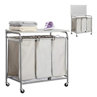 Sorter Cart with Foldable Ironing Board with Transparent Net