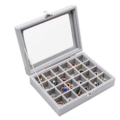 Stylifing Clear Lid Velvet, 24 Grid Jewelry Tray