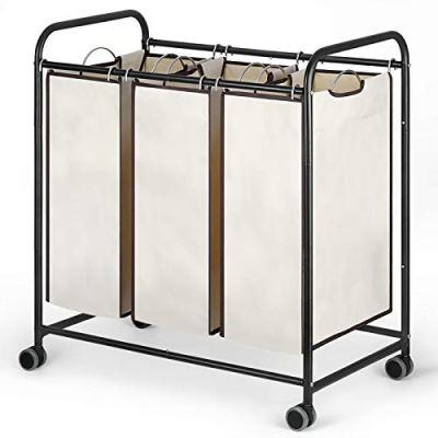 Liheya 3 Bag Laundry Sorter Cart, Laundry Hamper Sorter