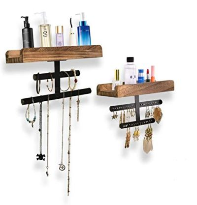 Refrze Rustic Hanging Jewelry Organizer,Wall Mounted