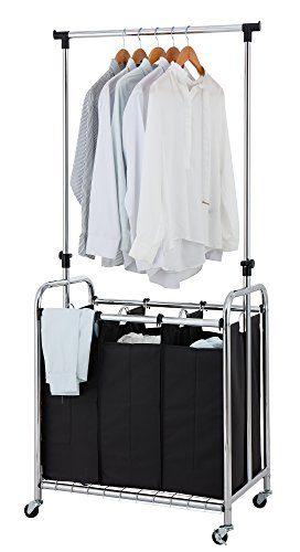 Finnhomy 3-Bag Rolling Laundry Sorter Cart