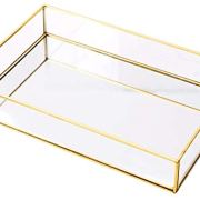 Rectangle Vintage Glass Tray Countertop Holder Dresser Organizer
