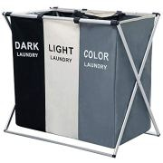 Nicesail 3 Section Laundry Basket Printed Dark Light Color
