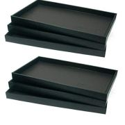 6-Piece, Black Full Size Plastic Stackable Jewelry Tray