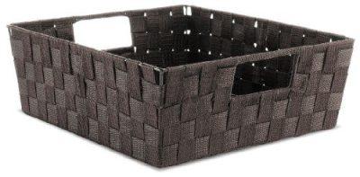 Espresso Woven Strap Shelf Storage Tote Basket