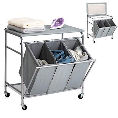 Heavy-Duty Laundry Hamper Cart Ironing Board