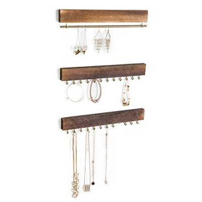 MyGift 3-Piece Wall-Mounted Rustic Wood & Gold Tone