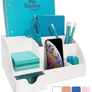 Office Desk Organizer, White Acrylic, with Drawer, 9 Compartments, All in One Office Supplies and Cool Desk Accessories Organizer, Pen Holder, Enhance Your Office Decor Desktop Organizer (White)
