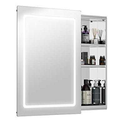 "HOMCOM 30"" LED Illuminated Wall Mirror Medicine Cabinet Bathroom"