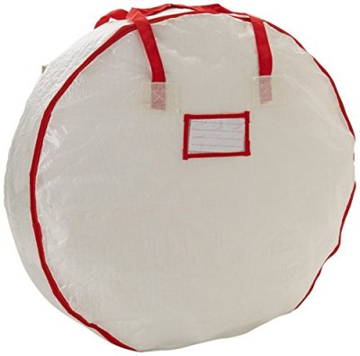 Heavy Duty Christmas Wreath Storage Bag with Red Trim
