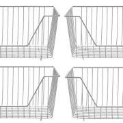 SANNO Farmhouse Decor Metal Wire Storage Fridge Freezer Organizer Basket
