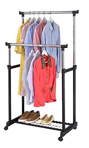 Adjustable Rolling Garment Rack with Bottom Shelf