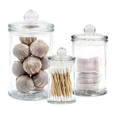 Mini Glass Apothecary Jars, Bathroom Storage Organizer Canisters