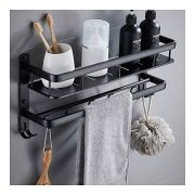 Aluminum Shelves Rectangle 1 Tier Rack Wall Mounted Black