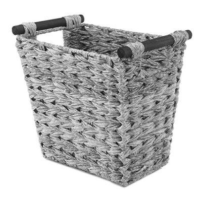 Gray Waste Basket with Wood Handles