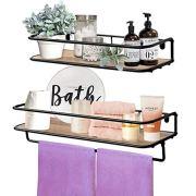 Floating Shelves Bathroom Rustic Wall Mounted Shelf with Towel
