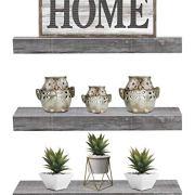 Sorbus Floating Shelf Set — Rustic Wood Hanging Rectangle Wall Shelves