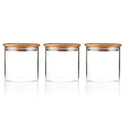 Sweejar 18 OZ Glass Food Storage Jar with Lid(set of 3)