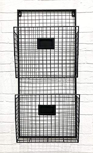 Wall Double File Holder Black Metal