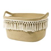Rectangle Woven Basket Tassel Cotton Rope Storage Basket