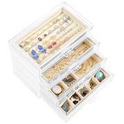 Acrylic Jewelry Box with 4 Drawers