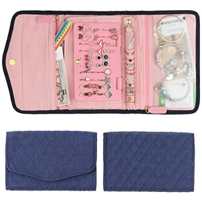 Keebofly Travel Jewelry Organizer Bag Foldable Jewelry Roll