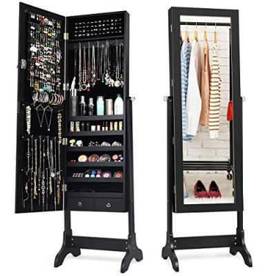 Lockable Standing Jewelry Armoire with Full Length Mirror