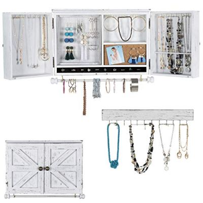 Rustic Wall Mounted Jewelry Organizer with Wooden Barndoor Decor.
