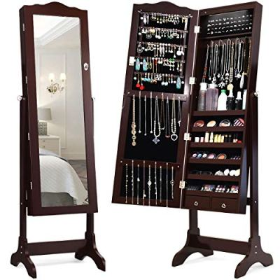 LEDs Mirror Jewelry Cabinet Lockable Standing Jewelry Armoire