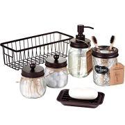 Storage Organizer Basket Premium Mason Jar Bathroom Accessories Set
