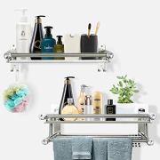 Shower Caddy Bathroom Shelf Storage with 4 Hooks for Houseware