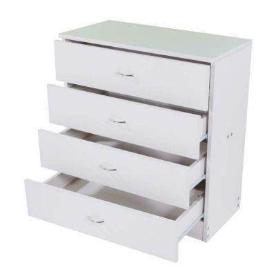 Qinghongkeen 4 Drawer Dresser Chest Wood Cabinet Closet