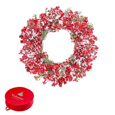 Frdsomar 26 inch Christmas Wreath with Storage Container